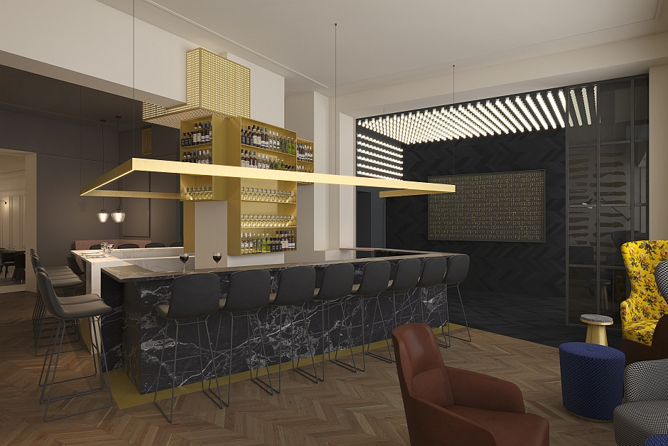 so wird die neue hotel restaurant bar aussehen the fritz in d sseldorf. Black Bedroom Furniture Sets. Home Design Ideas