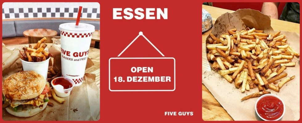 "Five Guys erobern den Limbecker Platz in Essen!: So schmecken die Burger ""all the way"""