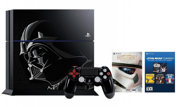 "Im Bundle mit ""Star Wars Battlefront"" und ""Disney Infinity 3.0"": PlayStation 4 Limited Edition im ""Darth Vader""-Design"