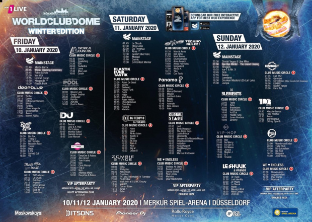 BigCityBeats WORLD CLUB DOME Winter Edition 2020 - Timetable (image/jpeg)